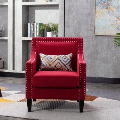 Accent Armchair Living Room Chair With Nailheads, Red Fabric: Red Pertaining To Filton Barrel Chairs (View 11 of 20)