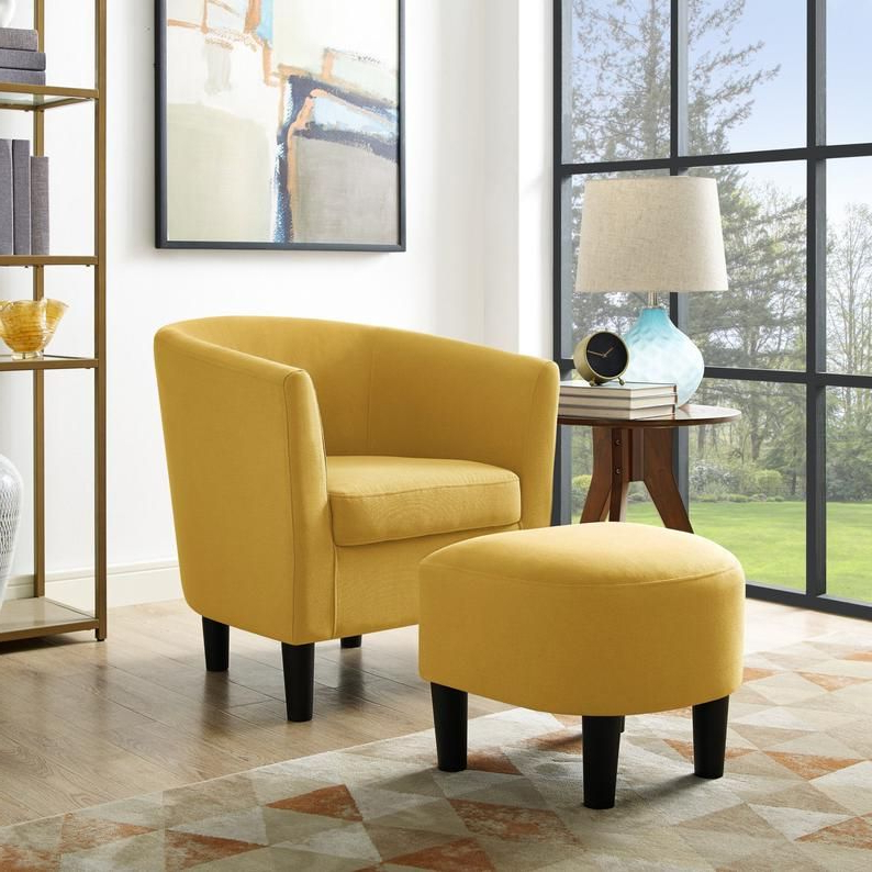 Accent Chair With Curved Back Ottoman Club Seat Armchair For Chaithra Barrel Chair And Ottoman Sets (View 7 of 20)
