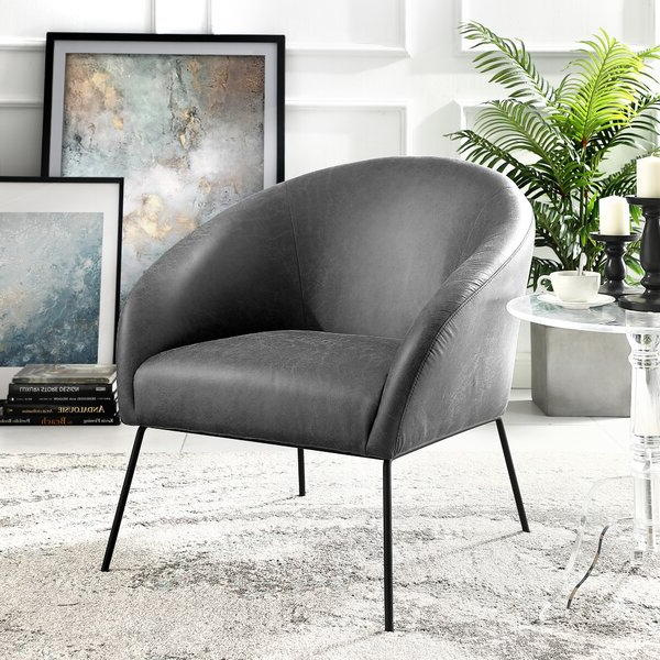 """Achilles 31"""" W Faux Leather Barrel Chair Intended For Faux Leather Barrel Chairs (View 18 of 20)"""