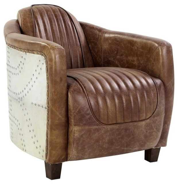 Acme Brancaster Chair, Retro Brown Tg Leather And Aluminum With Sheldon Tufted Top Grain Leather Club Chairs (View 20 of 20)