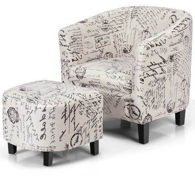 """Alexander 27"""" W Cotton Blend Armchair And Ottoman Inside Alexander Cotton Blend Armchairs And Ottoman (View 6 of 20)"""