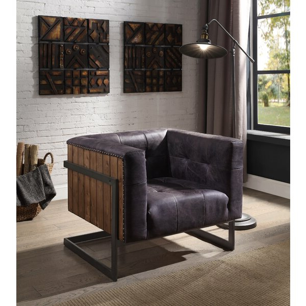 "Allard 31"" W Tufted Top Grain Leather Club Chair With Sheldon Tufted Top Grain Leather Club Chairs (View 13 of 20)"