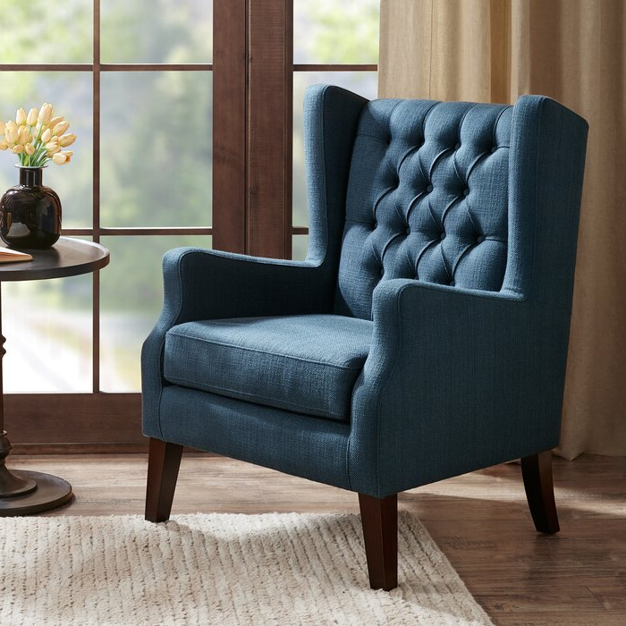 Allis Wingback Chair Regarding Allis Tufted Polyester Blend Wingback Chairs (View 7 of 20)