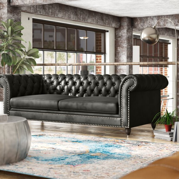 """Alsager 94"""" Wide Faux Leather Rolled Arm Chesterfield Sofa Throughout Kjellfrid Chesterfield Chairs (View 16 of 20)"""