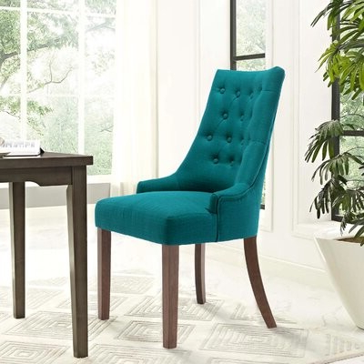 Alshawn Tufted Upholstered Parsons Chair Color: Green In Alwillie Tufted Back Barrel Chairs (View 11 of 20)