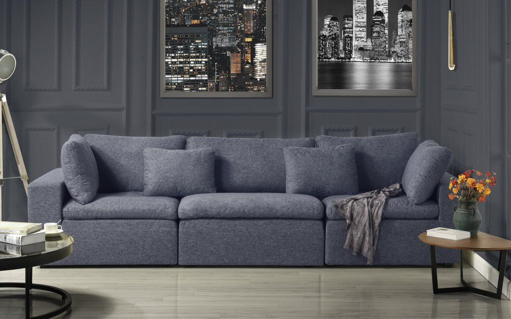 Alvina Contemporary Linen Lounge Sofa | Dark Grey Living With Biggerstaff Polyester Blend Armchairs (View 20 of 20)