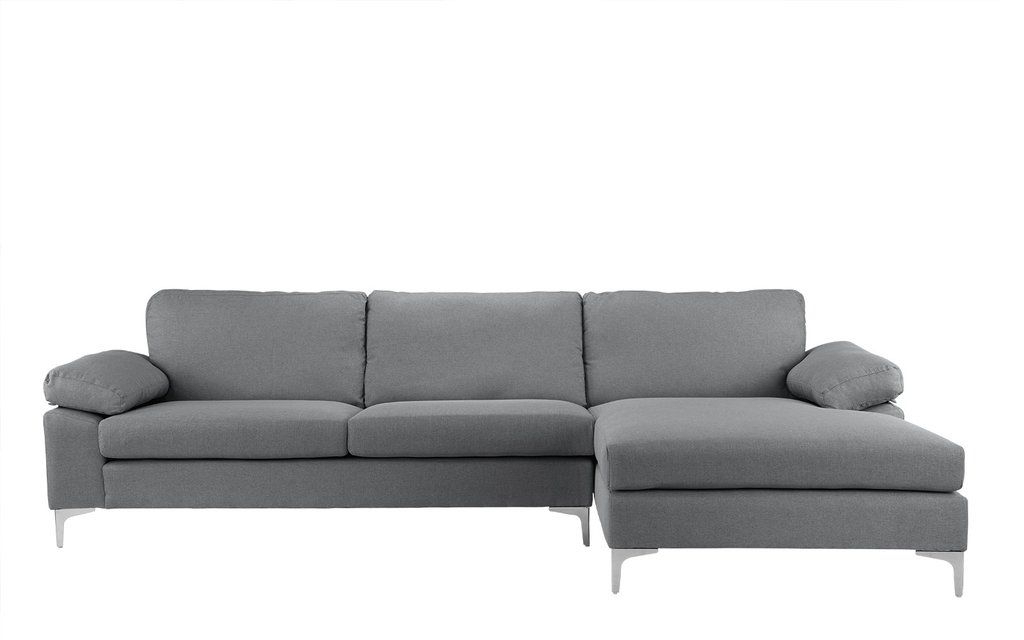 Amanda Modern Linen Large Sectional Sofa | Fabric Sectional Regarding Perz Tufted Faux Leather Convertible Chairs (View 19 of 20)