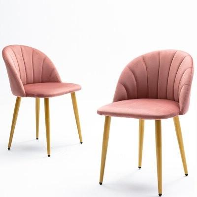 Ambre Velvet Upholstered Side Chair Upholstery Color: Pink Regarding Erasmus Velvet Side Chairs (set Of 2) (View 19 of 20)