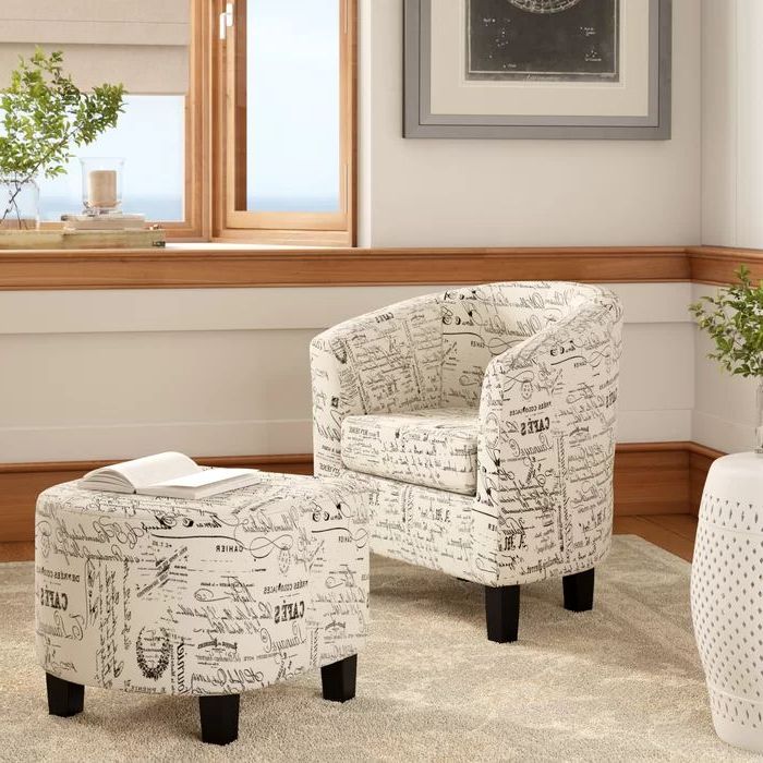 Andover Mills™ Louisiana Barrel Chair And Ottoman & Reviews Throughout Jazouli Linen Barrel Chairs And Ottoman (View 14 of 20)