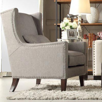 Andover Mills Oneill Wingback Chair Upholstery: Gray With Regard To Andover Wingback Chairs (View 16 of 20)