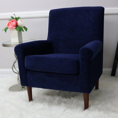Andover Mills Ronald Armchair Upholstery Colour: Royal Blue Regarding Ronald Polyester Blend Armchairs (View 6 of 20)