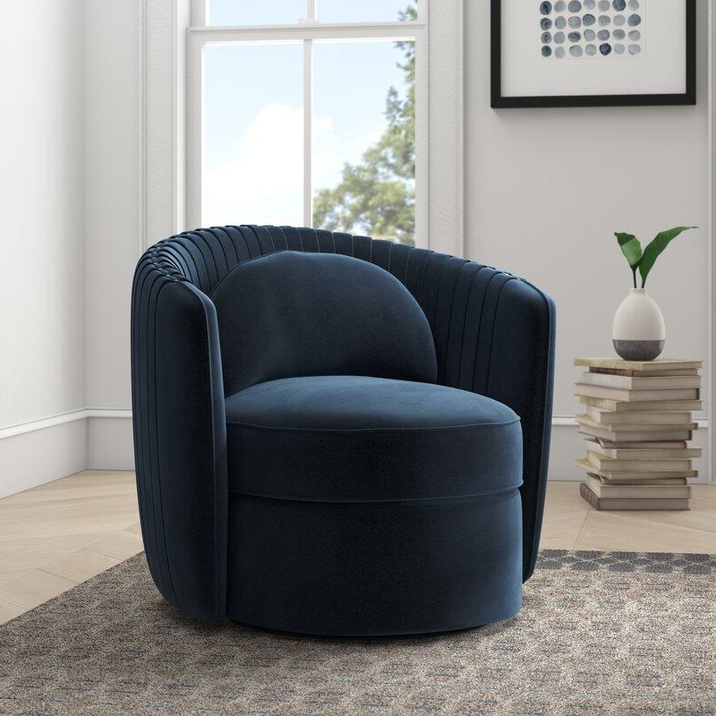 "Annalise 33"" W Polyester Swivel Barrel Chair Intended For Danow Polyester Barrel Chairs (View 3 of 20)"