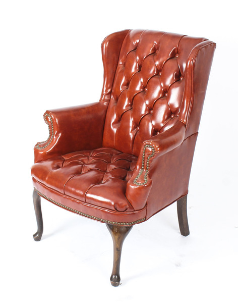 Antique Leather Chippendale Wing Back Chair Armchair C1900 | Vinterior Within Busti Wingback Chairs (View 18 of 20)