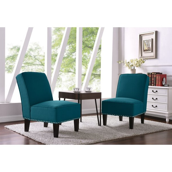 Aqua Slipper Chair Set Of 2 In Goodspeed Slipper Chairs (set Of 2) (View 6 of 20)