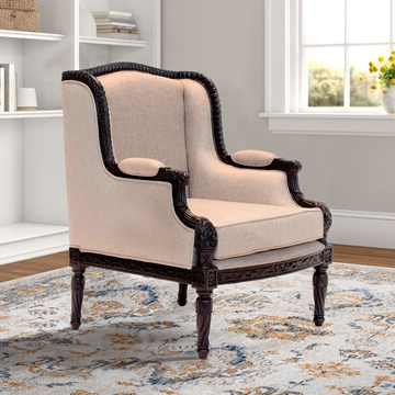 Arion Handcrafted Mahogany Wood Upholstered Accent Armchair Regarding Maubara Tufted Wingback Chairs (View 20 of 20)
