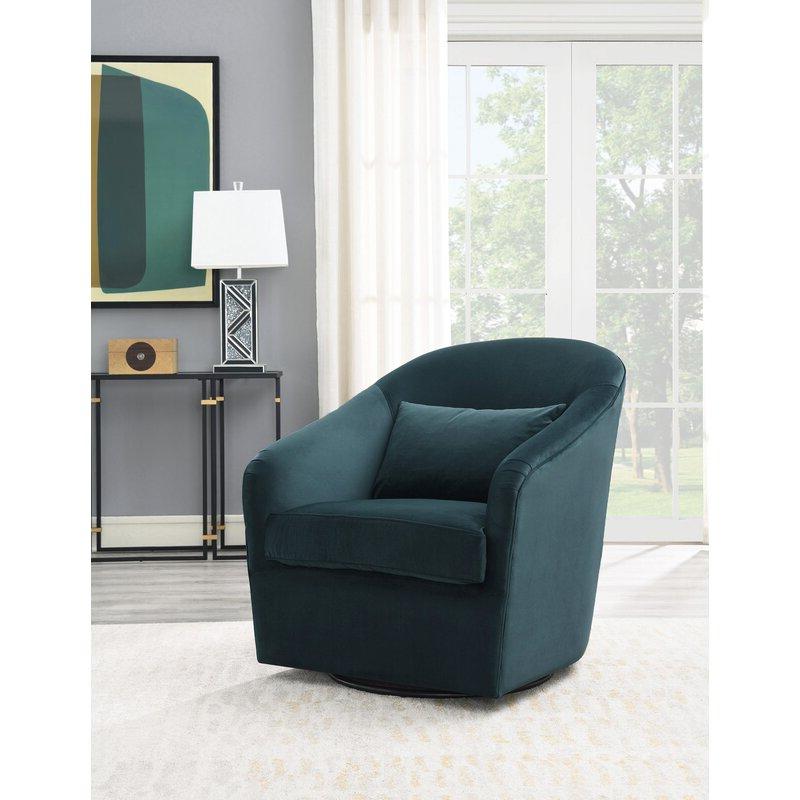 Arlea High Back Swivel Barrel Chair Inside Danow Polyester Barrel Chairs (View 7 of 20)