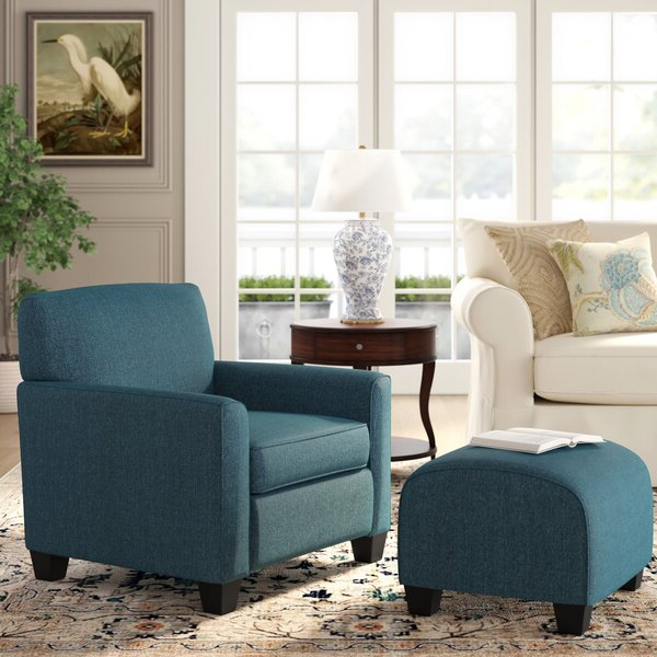 Armchair And Ottoman Throughout Michalak Cheswood Armchairs And Ottoman (View 17 of 20)