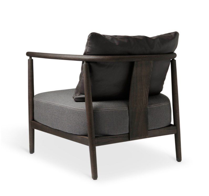 Armchair, Humble, Pierre Sindre, Wood Brown / Fabric Brown / Pillow Leather Brown Pertaining To Helder Armchairs (View 10 of 20)