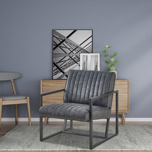 """Armina 26"""" W Faux Leather Armchair With Jarin Faux Leather Armchairs (View 8 of 20)"""
