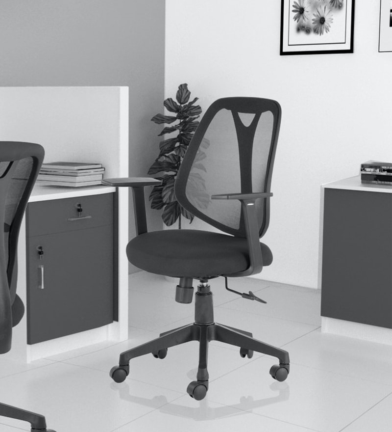Artemis Ergonomic Chair In Black Colour Pertaining To Artemi Barrel Chair And Ottoman Sets (View 10 of 20)