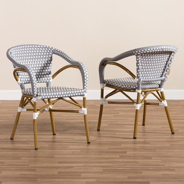 Artressia Stacking Bamboo Patio Dining Armchair With Cushion Intended For Artressia Barrel Chairs (View 2 of 20)