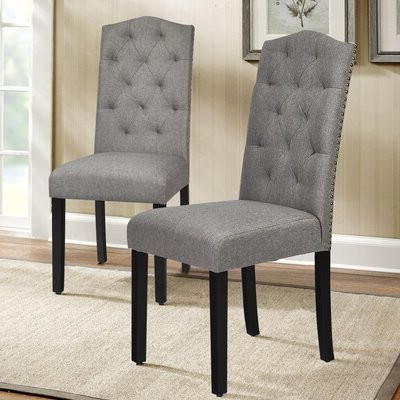 Assa Tufted Linen Upholstered Parsons Chair Upholstery Color: Gray Pertaining To Alwillie Tufted Back Barrel Chairs (View 7 of 20)