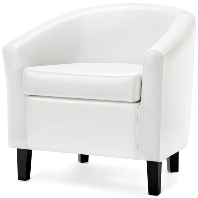 Barrel Chair Faux Leather Club Chair Accent Arm Chair For Living Room Bedroom Pertaining To Faux Leather Barrel Chairs (View 8 of 20)
