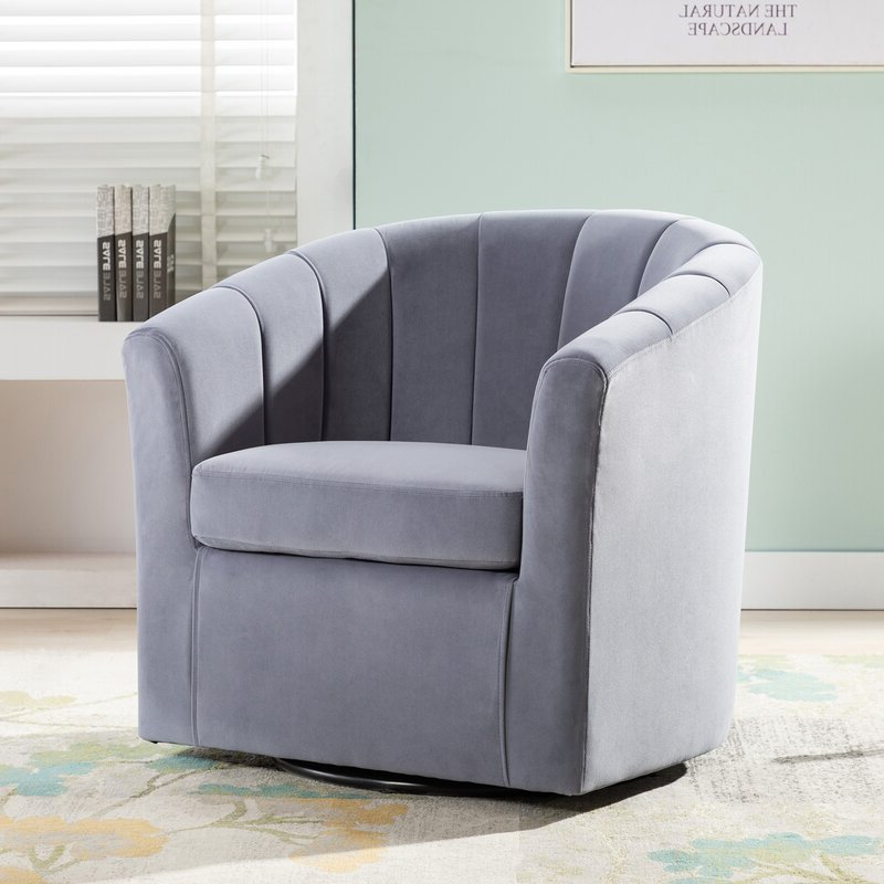 Barrentine Swivel Barrel Chair With Regard To Claudel Polyester Blend Barrel Chairs (View 4 of 20)