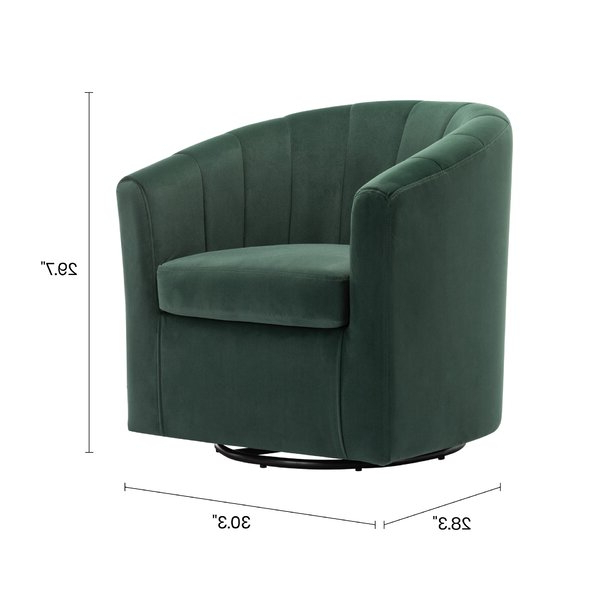 Barrentine Swivel Barrel Chair Within Claudel Polyester Blend Barrel Chairs (View 6 of 20)