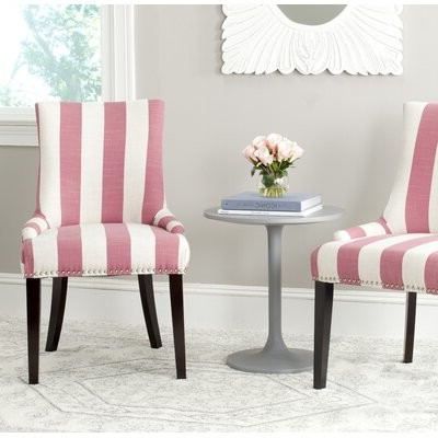 Beachcrest Hometm Abby Upholstered Side Chair Beachcrest Home Upholstery Color: Pink / White Stripe Throughout Bob Stripe Upholstered Dining Chairs (set Of 2) (View 14 of 20)