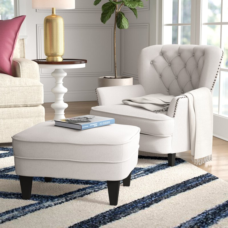 """Becker 24"""" Armchair And Ottoman Throughout Ronald Polyester Blend Armchairs (View 11 of 20)"""