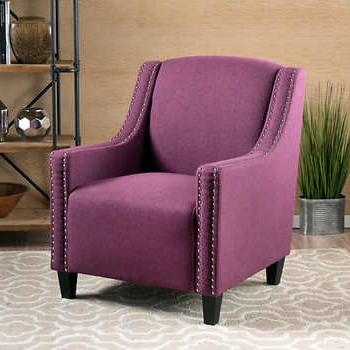 Beckham Fabric Studded Club Chair – Purple   Chair, Most Throughout Hiltz Armchairs (View 9 of 20)