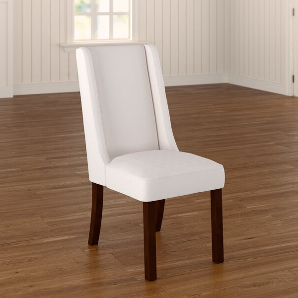Beige Enjoy Set Of 4 Premium Fabric Linen Dining Chairs Roll Inside Carlton Wood Leg Upholstered Dining Chairs (View 8 of 20)