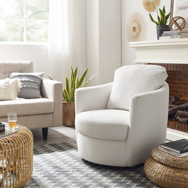 Berwyn View Accents Chair Pertaining To Brames Barrel Chair And Ottoman Sets (View 14 of 20)