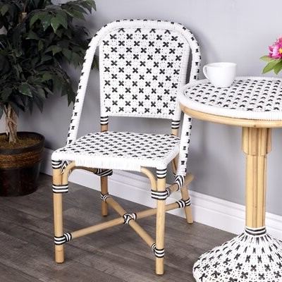 Bettie Upholstered Side Chair In White/black Pertaining To Aime Upholstered Parsons Chairs In Beige (View 11 of 20)