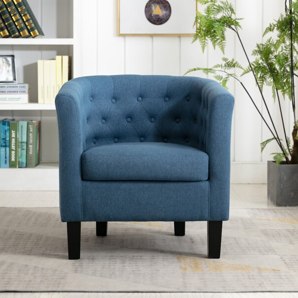 Blue Barrel Accent Chair With Regard To Alwillie Tufted Back Barrel Chairs (View 2 of 20)