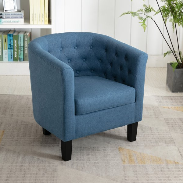 Blue Circle Accent Chair Throughout Alwillie Tufted Back Barrel Chairs (View 3 of 20)
