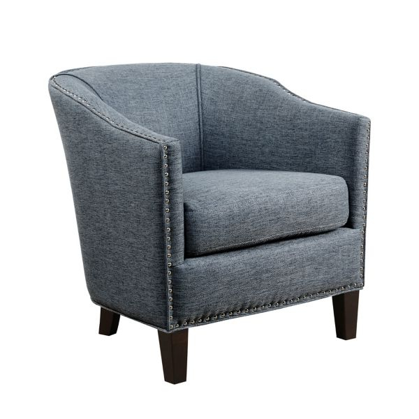 Blue Emery Barrel Accent Chair From Kirkland's | Haus Inside Hallsville Performance Velvet Armchairs And Ottoman (View 14 of 20)