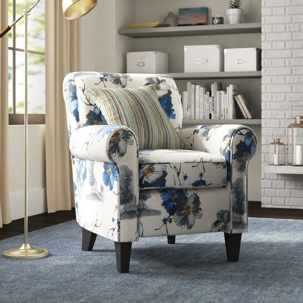 Blue Pattern Arm Chair With Regard To Bethine Polyester Armchairs (set Of 2) (View 4 of 20)