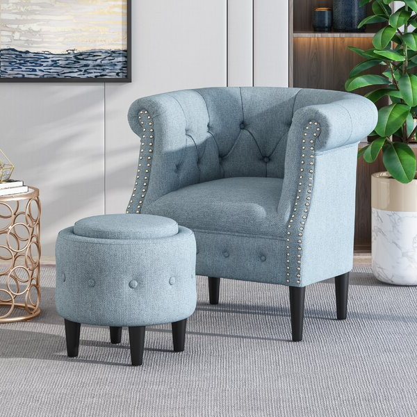 Blue Studded Chair With Regard To Alwillie Tufted Back Barrel Chairs (View 15 of 20)