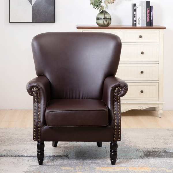 Bonded Leather Chair Within Gilad Faux Leather Barrel Chairs (View 14 of 20)