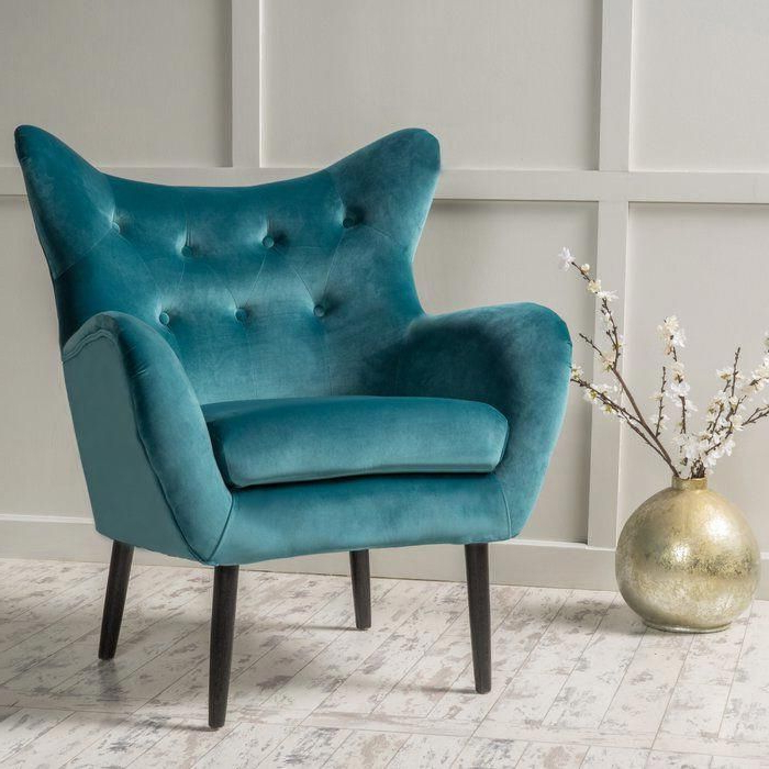 Bouck 21'' Wingback Chair | Mid Century Chair Styles, Velvet Intended For Bouck Wingback Chairs (View 7 of 20)