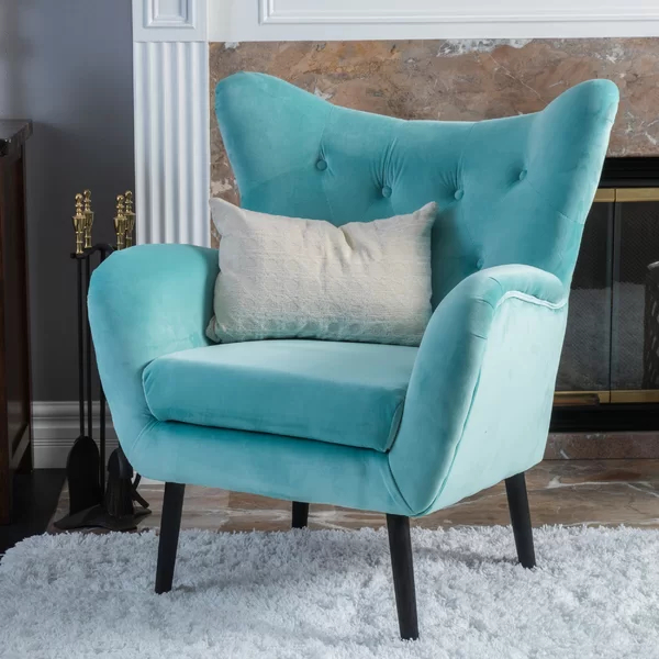 Bouck Wingback Chair & Reviews | Allmodern | Blue Velvet Pertaining To Bouck Wingback Chairs (View 18 of 20)