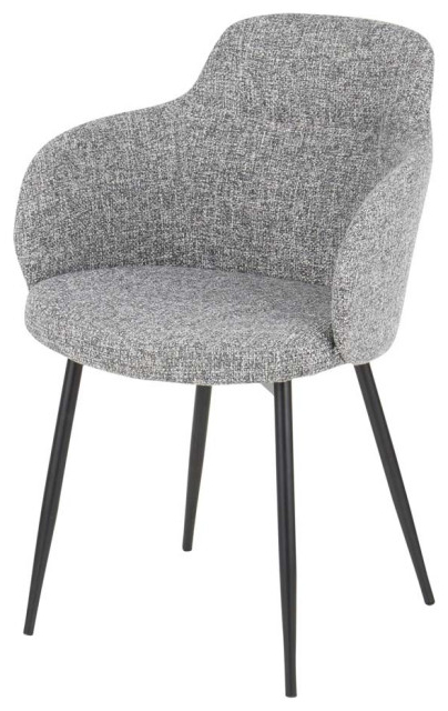 Boyne Industrial Chair In Black Metal & Grey Noise Fabric For Ronda Barrel Chairs (View 17 of 20)