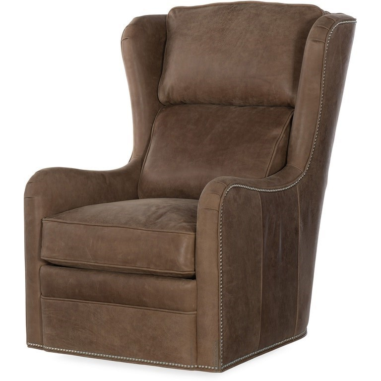 Bradington Young Farrah Casual Leather Upholstered Swivel With Regard To Gallin Wingback Chairs (View 14 of 20)
