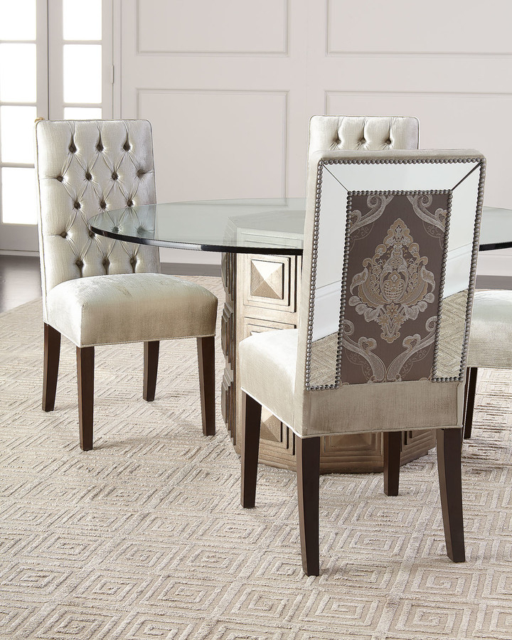 Brittany Mirrored Trim Dining Chair For Madison Avenue Tufted Cotton Upholstered Dining Chairs (set Of 2) (View 17 of 20)