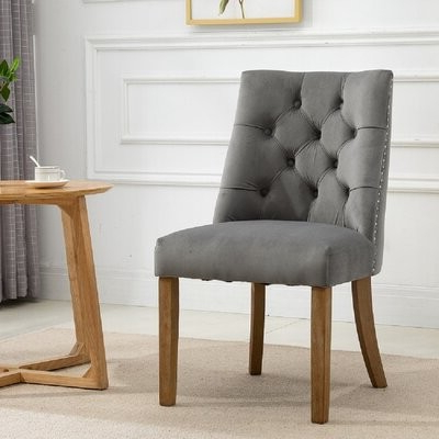Brodench Tufted Dining Chair Upholstery Color: Light Gray Pertaining To Alwillie Tufted Back Barrel Chairs (View 13 of 20)