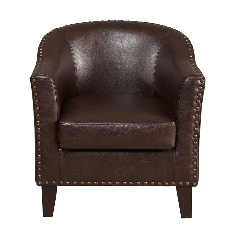 Brown Faux Leather Barrel Accent Chair Regarding Faux Leather Barrel Chairs (View 16 of 20)
