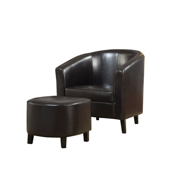 Brown Leather Chair And Ottoman With Regard To Annegret Faux Leather Barrel Chair And Ottoman Sets (View 6 of 20)
