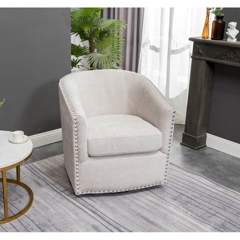 Brynn Swivel Barrel Chair For Danow Polyester Barrel Chairs (View 9 of 20)